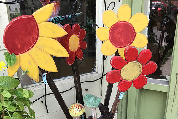colourful wooden flowers