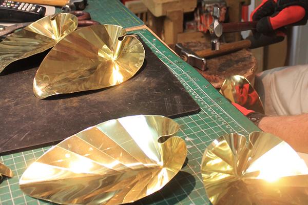 shiny metal leaves